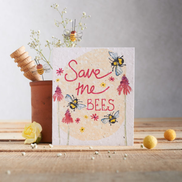 Save the bees seed paper card PTES